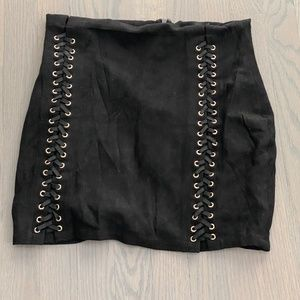 Suede Black Lace Up Mini Skirt